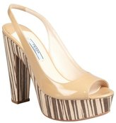 Prada sand patent leather striped wood heel slingbacks