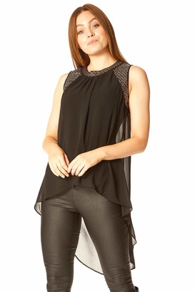 Roman Originals Women Embellished Split Back Vest Top - Ladies Smart Evening Christmas Party Night Sparkle Bead Neckline Longline Sleeveless Chiffon Tops - Black - Size 12