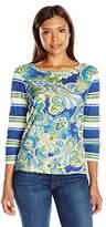 Caribbean Joe Women's Plus Size Long Sleeve Printed Slub Crewneck