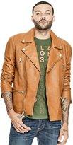 GUESS Men's Volt Leather Biker Jacket