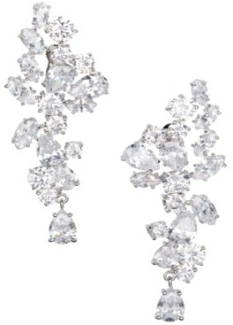 Grace Kelly Collection Rhodium Plated Floral Drop Pierced Earring