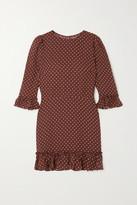 Reformation Doutzen Ruffled Polka-dot Voile Mini Dress - Brown