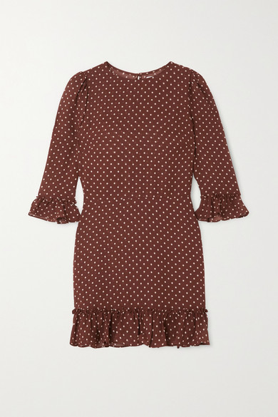 Reformation Doutzen Ruffled Polka-dot Voile Mini Dress - Brown