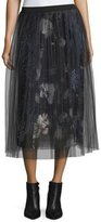 Fuzzi Layered Floral Skirt w/ Plisse Netting Overlay