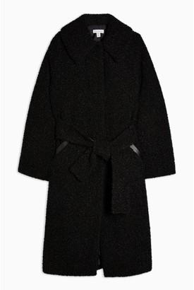 Topshop Maxi Borg Coat - Black