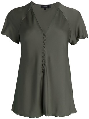 Theory Button-Front Silk Top