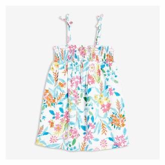 Joe Fresh Baby Girls' Smocked Dress, White (Size 12-18)