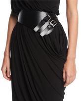 Michael Kors Double-Buckle Leather Belt, Black