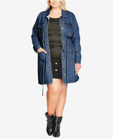 City Chic Plus Size Trendy Utility Denim Jacket