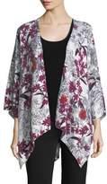 Neiman Marcus Cashmere Floral-Print Open-Front Shawl Kimono
