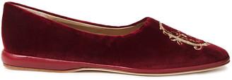 Chloé Leather-trimmed Embroidered Cotton-blend Velvet Ballet Flats