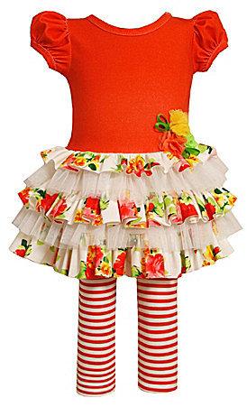 Bonnie Baby Newborn Solid/Floral Dress & Striped Leggings Set
