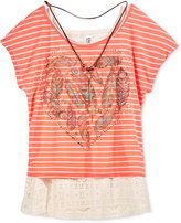 Beautees Layered-Look Feather Graphic Top & Necklace, Big Girls (7-16)