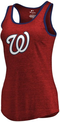 Women's Fanatics Branded Red/Navy Washington Nationals Prime Ringer Tri-Blend Tank Top