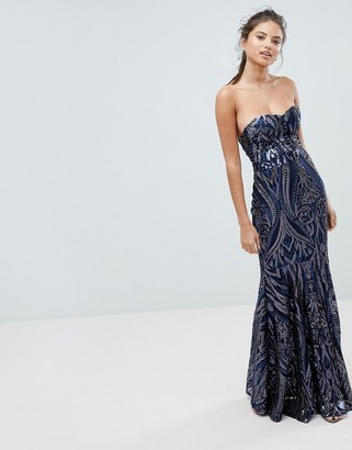Club L London Embellished Sequin Strapless Fishtail Maxi Dress-Navy
