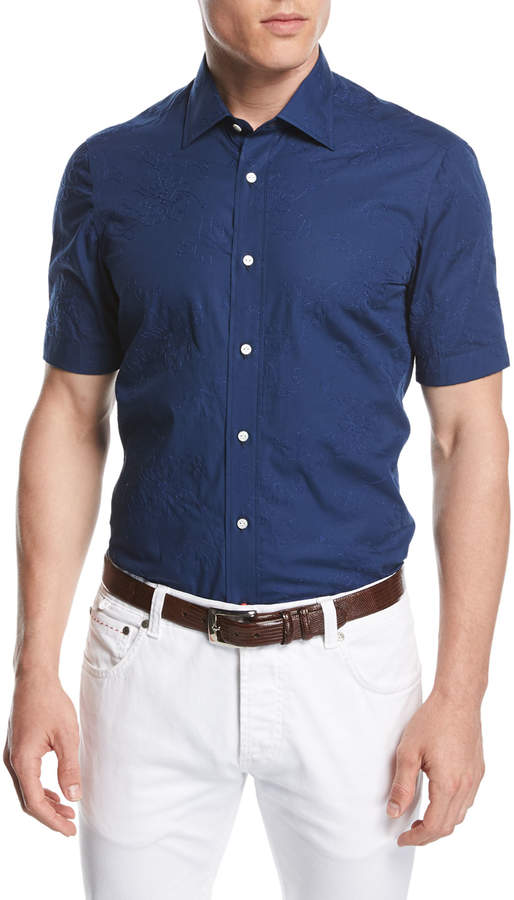 Isaia Stitched Floral Short-Sleeve Cotton Shirt, Navy