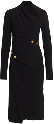 Proenza Schouler Matte Crepe Twistneck Long-Sleeve Dress