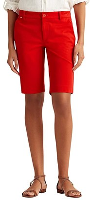 Lauren Ralph Lauren Petite Bi-Stretch Twill Shorts (Orient Red) Women's Shorts