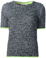 Christopher Kane tweed short sleeve sweater - women - Acrylic/Polyamide/Polyester/Virgin Wool - M