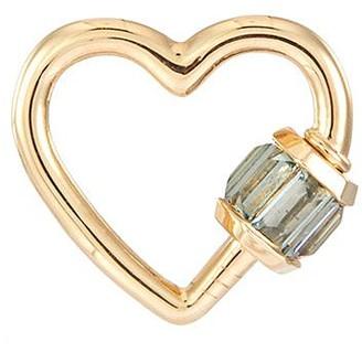 Marla Aaron 'Heart' sapphire 14k yellow gold baguette baby lock