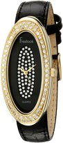 Freelook Women's HA8219G-1 Leather Band & Dial Gold Case Swarovski Dial And Bezel Watch