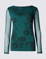 Marks and Spencer Floral Print Slash Neck Jersey Top