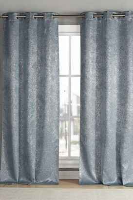 "Duck River Textile Maddie Blackout Grommet Curtains 84"" - Set of 2 - Slate Blue"