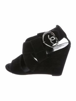 Chanel Interlocking CC Logo Suede Slingback Sandals Black