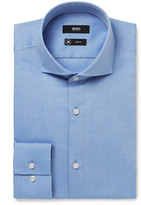 HUGO BOSS Blue Jason Slim-Fit Cutaway-Collar Herringbone Cotton Shirt