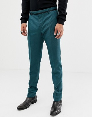Twisted Tailor super skinny suit trouser in two tone geo-Green
