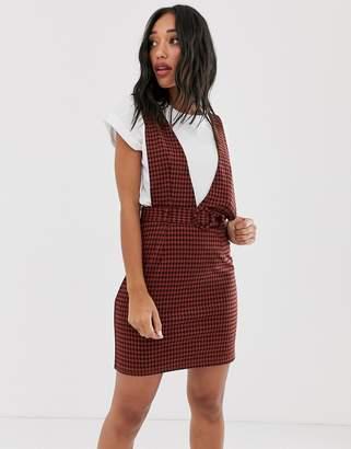 Noisy May checked pinny mini dress with self belt-Orange