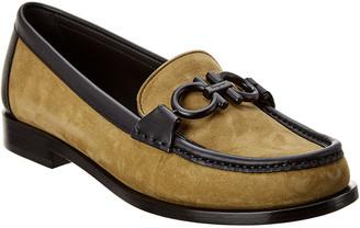 Salvatore Ferragamo Rolo Gancini Suede & Leather Loafer