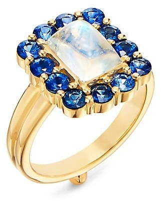 Temple St. Clair Dreamcatcher 18K Yellow Gold, Blue Moonstone & Blue Sapphire Ring