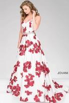 Jovani Floral Printed Satin Ballgown 37940