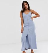 Asos DESIGN Petite exclusive textured button through cami maxi dress