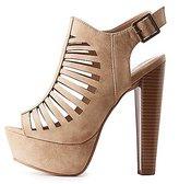 Charlotte Russe Laser Cut Platform Slingback Sandals