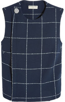 Balenciaga Checked Stretch-wool Crepe Top - Navy