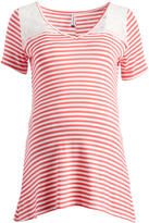 Coral & Ivory Stripe Lace-Accent Maternity Tee