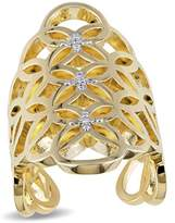 Catherine Malandrino Diamond Ring In 18k Yellow Gold Plated Sterling Silver.