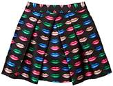 Milly Kiss-Print Pleated Silky Twill Skirt