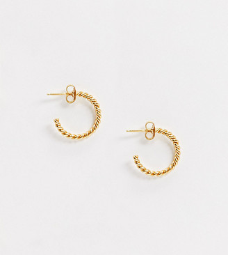 Topshop House Of Freedom House of Freedom by twisted chain hoop earrings in sterling silver gold plate
