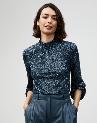 Lafayette 148 New York Shimmering Sequins Axton Blouse