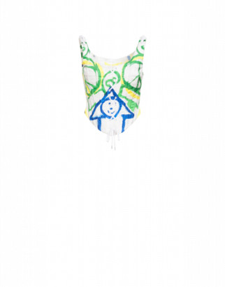Moschino Bustier In Duchesse Drawings Woman White Size 38 It - (4 Us)