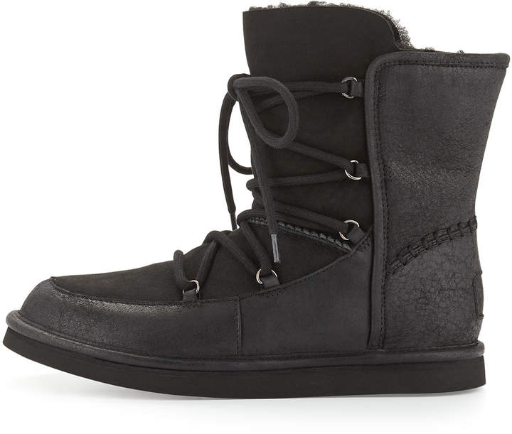 UGG Lodge Fur-Lined Lace-Up Bootie, Black