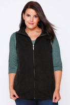 Yours Clothing Black Microfleece Gilet With Zip Front