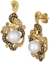 LeVian Le Vian Chocolatier Cultured Freshwater Pearl (8-1/2mm) & Diamond (5/8 ct. t.w.) Drop Earrings in 14k Gold