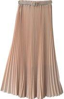 Norwaya Women's Pleated Retro Maxi Long Skirt