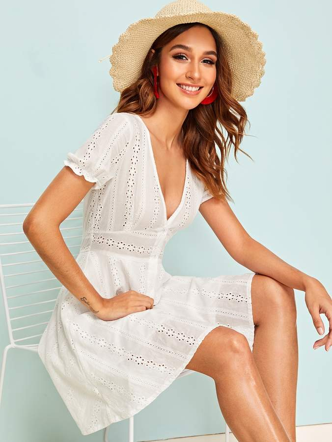 Shein Eyelet Embroidery Button Front Dress