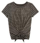Aqua Girls' Striped Tie Front Tee, Big Kid - 100% Exclusive