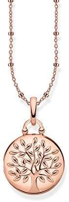 Thomas Sabo Women Necklace Locket Tree of Love Pink Round 925 Sterling Silver; 18k Rose Gold Plating KE1831-415-40